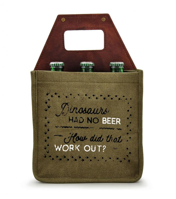 Dinos Had no Beer, Did that Work Out? Bottle 6 Pack Canvas Tote