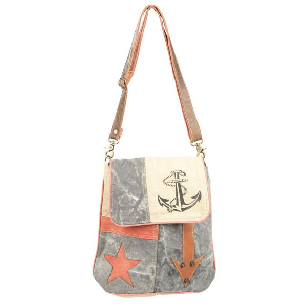 Star Anchor and Arrow Canvas Shoulder Bag