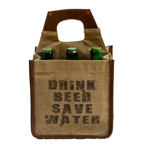 Drink Beer Save Water 6 Pack Canvas Tote