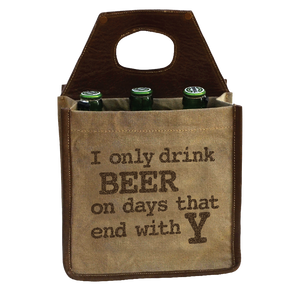 "Drink Beer Days End in "" Y"" 6 Pack Canvas Tote"
