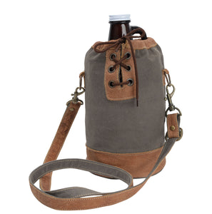 64 Oz Beer / Whiskey Growler Canvas Tied Tote