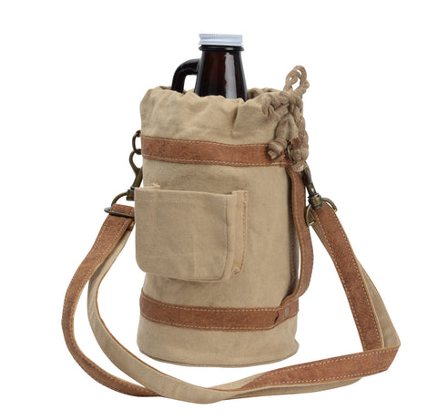 64 Oz Beer / Whiskey Growler Canvas Tote
