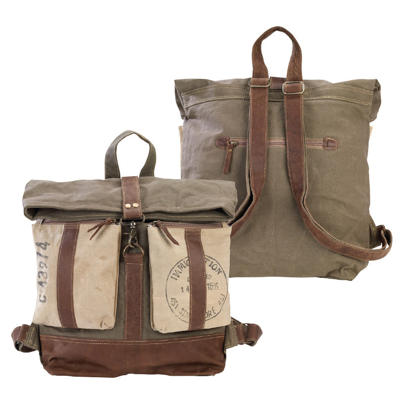 Roll Top Flap Over Backpack