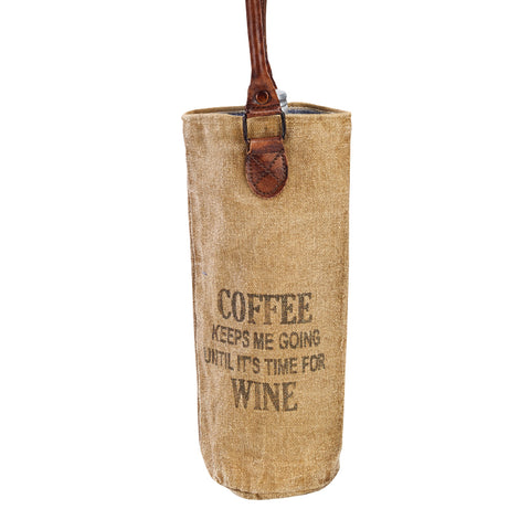 Coffee Until Wine Canvas Wine Tote