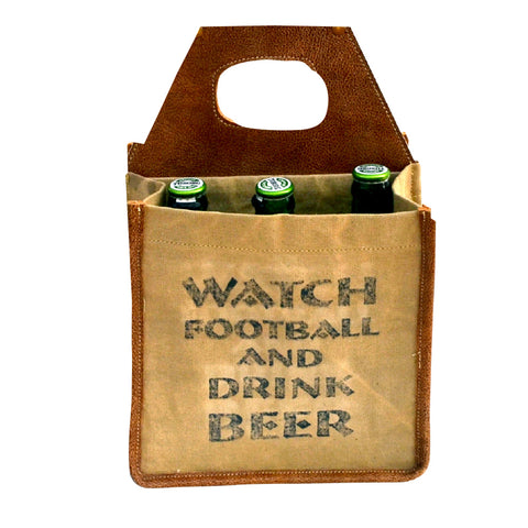 Watch Football, Drink Beer 6 pack Canvas Tote