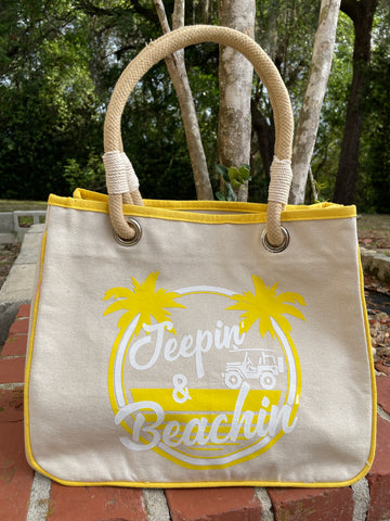 Jeepin' & Beachin' Canvas Tote Bag