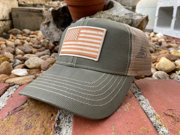 American Flag Patch Trucker Hat