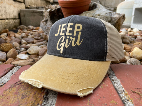 Jeep Girl Distressed Trucker Cap