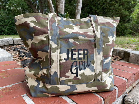 Jeep Girl Camo Canvas Tote Bag