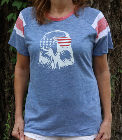 Eagle Shades Face Ladies Raglan Tee