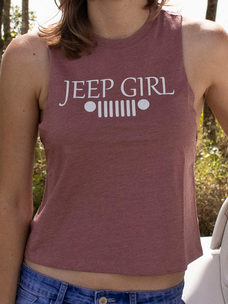 Jeep Girl Ladies Racerback Mauve Crop Tank
