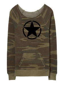 Black Star Camo Maniac Ladies Fleece Sweatshirt