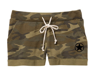 Camo Pattern Lounge Burnout French Terry Short