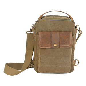 Washed Canvas Crossbody Military Green Sling Bag