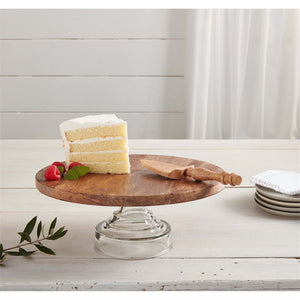 Wood Glass Cake Stand