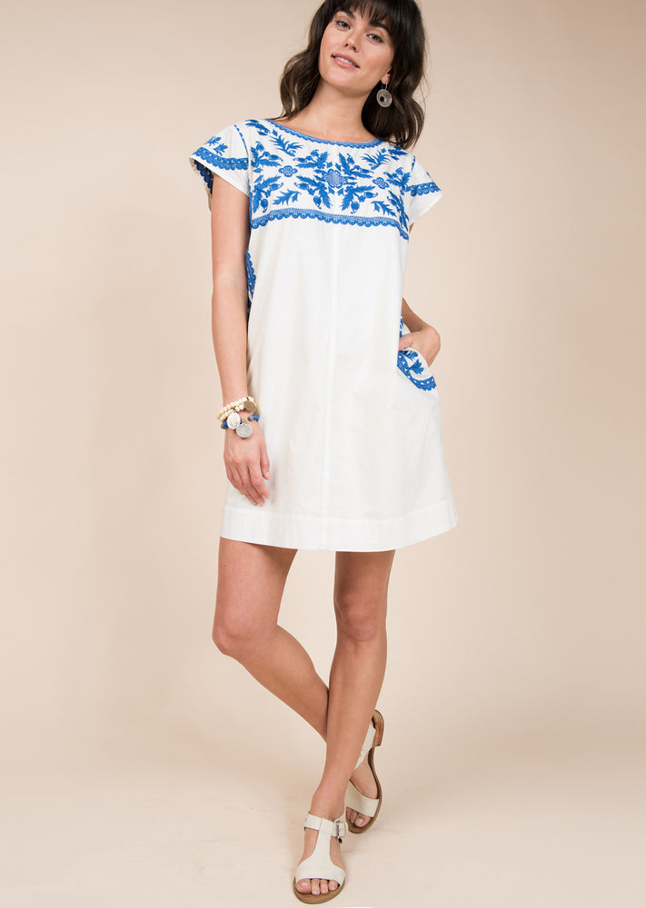 Shift Dress W/ Blue Embroidery