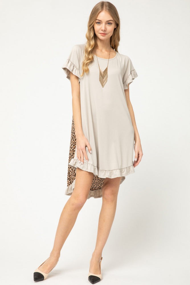 Taupe Leopard Back Dress