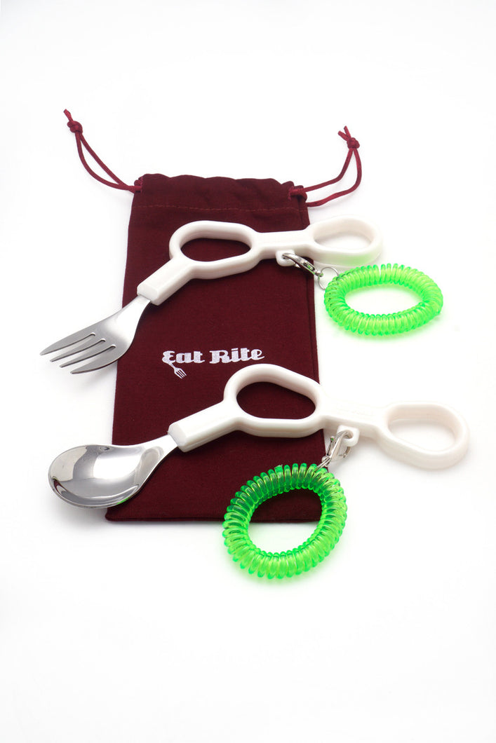 Adult Special Needs, Adaptive Fork and Spoon Set; SN-2 (Right Handed)