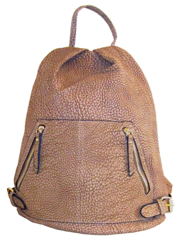 Leather Look Tan Backpack