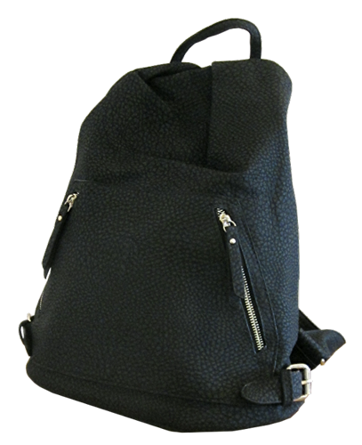 Leather Look Black Backpack