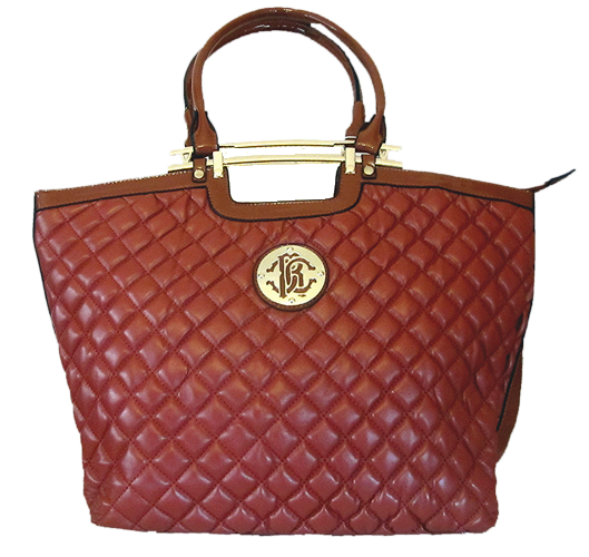 Quilted Tote Bag - Brown