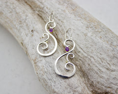 Amethyst Swan Earrings