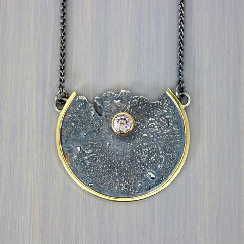 Moonscape Necklace with Morganite and 18K Gold