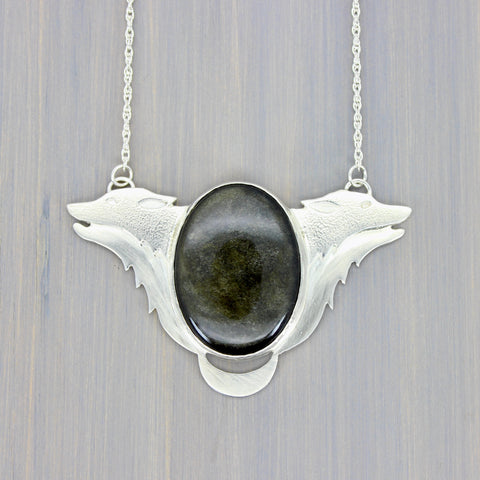 Wolfheart in Obsidian Necklace