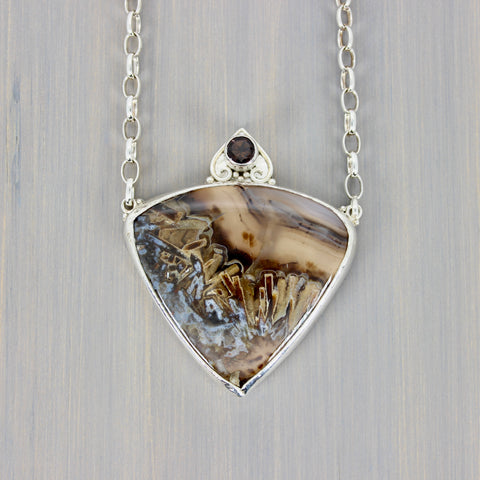 Gaia's Heart Agate + Smoky Quartz Necklace