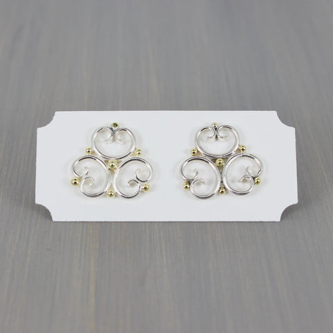Trefoil Post Earrings with 18K