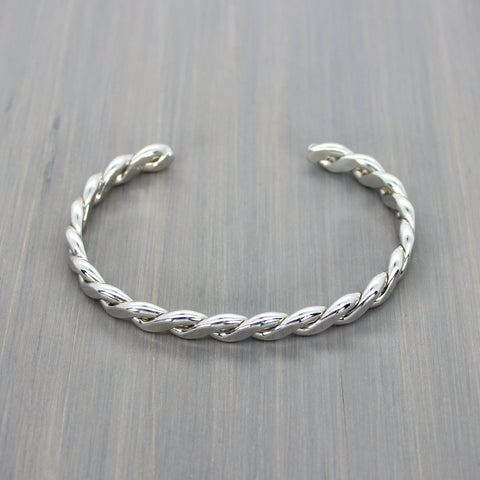 Rolled Rope Twist Cuff Bracelet XL