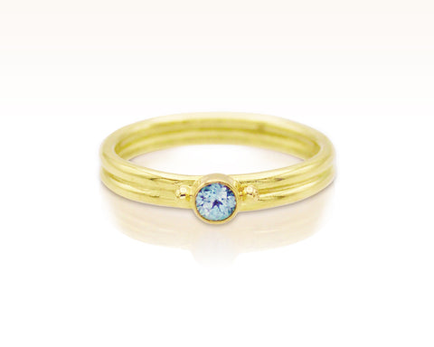 Blue Zircon Solitaire on Twin Band: Size 7.5