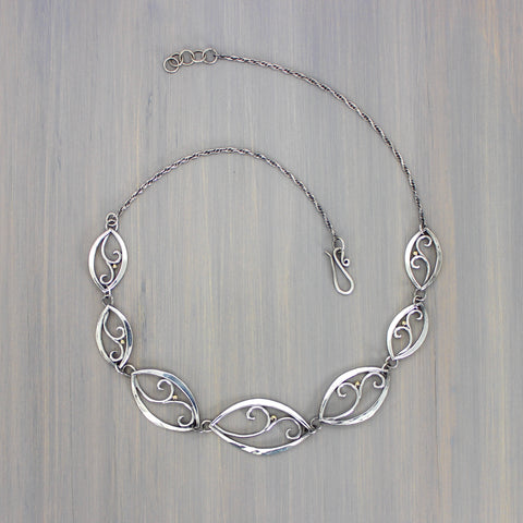 Forged Filigree Leaf Link Necklace with 18K