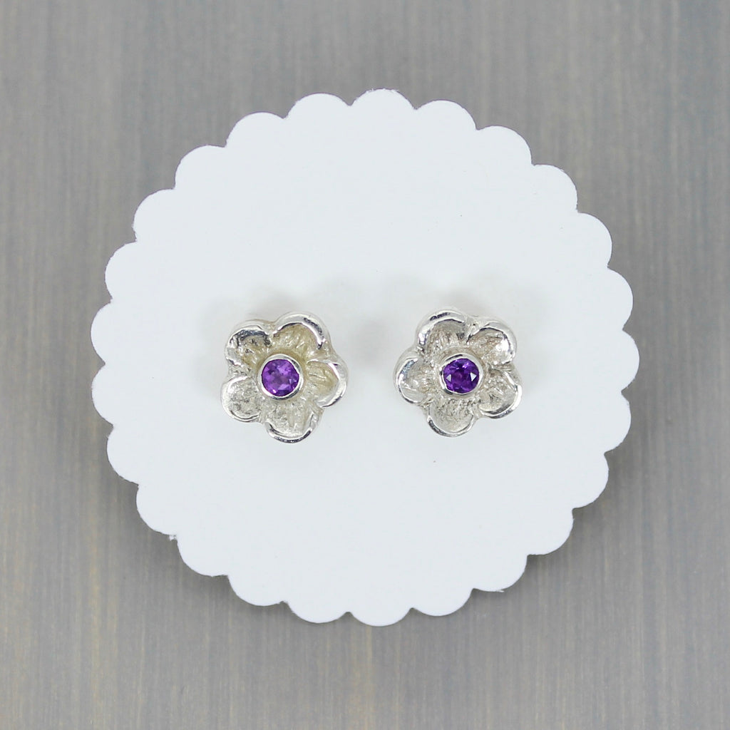 Blossom Post Earrings with Amethyst