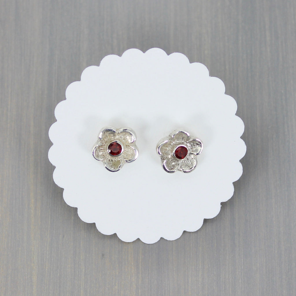 Blossom Post Earrings with Garnet
