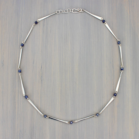 Hammered Bar Link Necklace with Sapphires