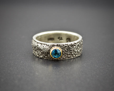 Moondust in Argentium with Blue Zircon and 18K Gold: Size 8.5