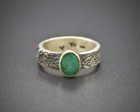 Moondust in Argentium with Emerald and 18K Gold: Size 7.5