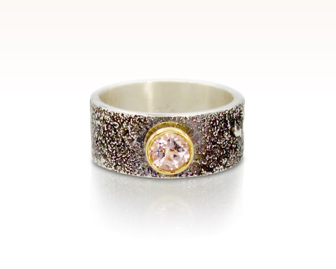 Moondust in Argentium with Morganite and 18K Gold: Size 5.5