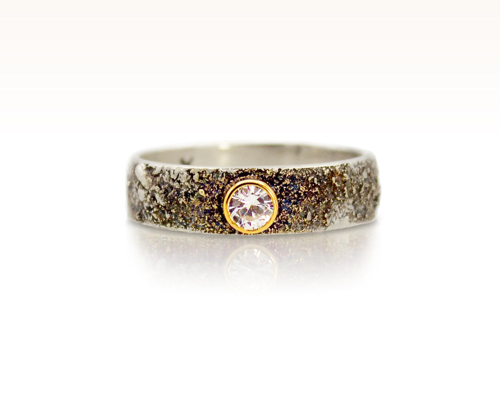 Moondust in Argentium with White Sapphire & 18K Gold: Size 8.5