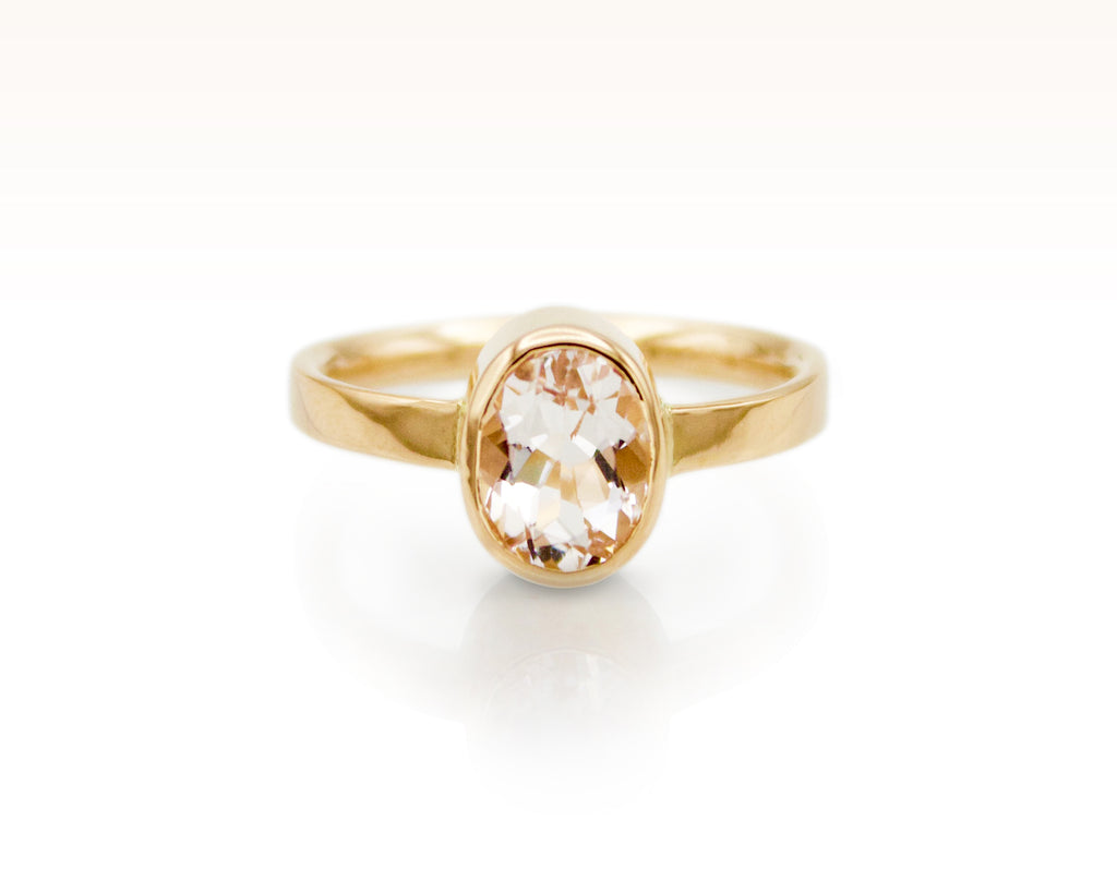 Blush Beryl Solitaire in 18K Rose Gold: size 6
