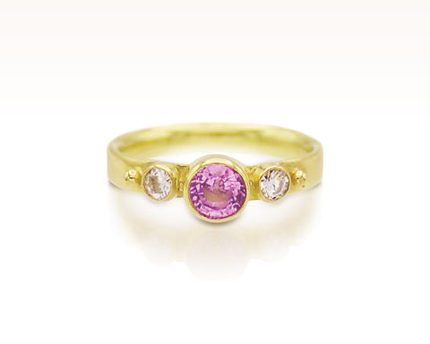 Lilac Spinel and Moissanite 18K Gold Trio: Size 4