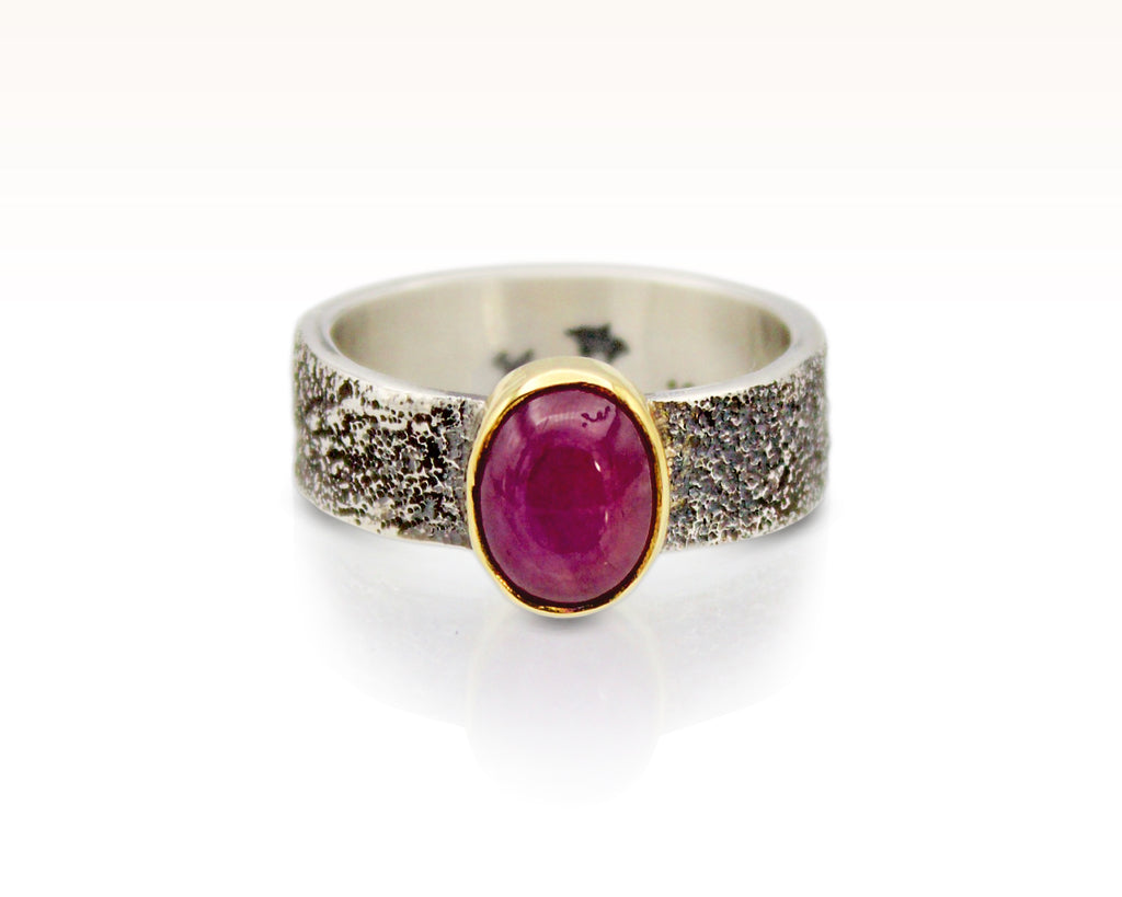 Moondust in Argentium with Star Ruby and 18K Gold: Size 7.75
