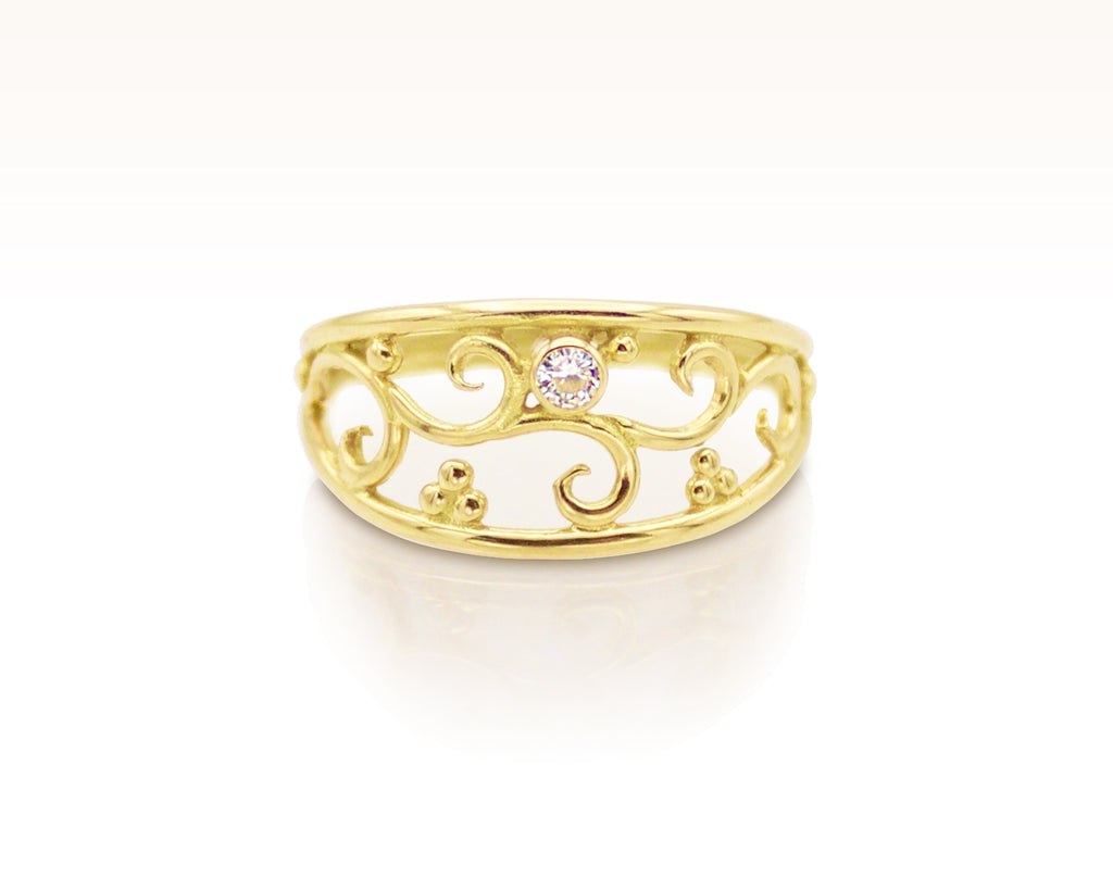 Forged Filigree Ring in 18K Gold with White Sapphire: Size 8