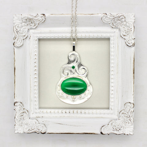 Emerald and Agate Triskele Pendant