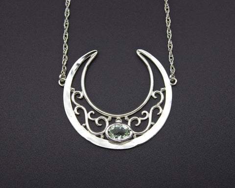 Green Quartz Lunula Necklace