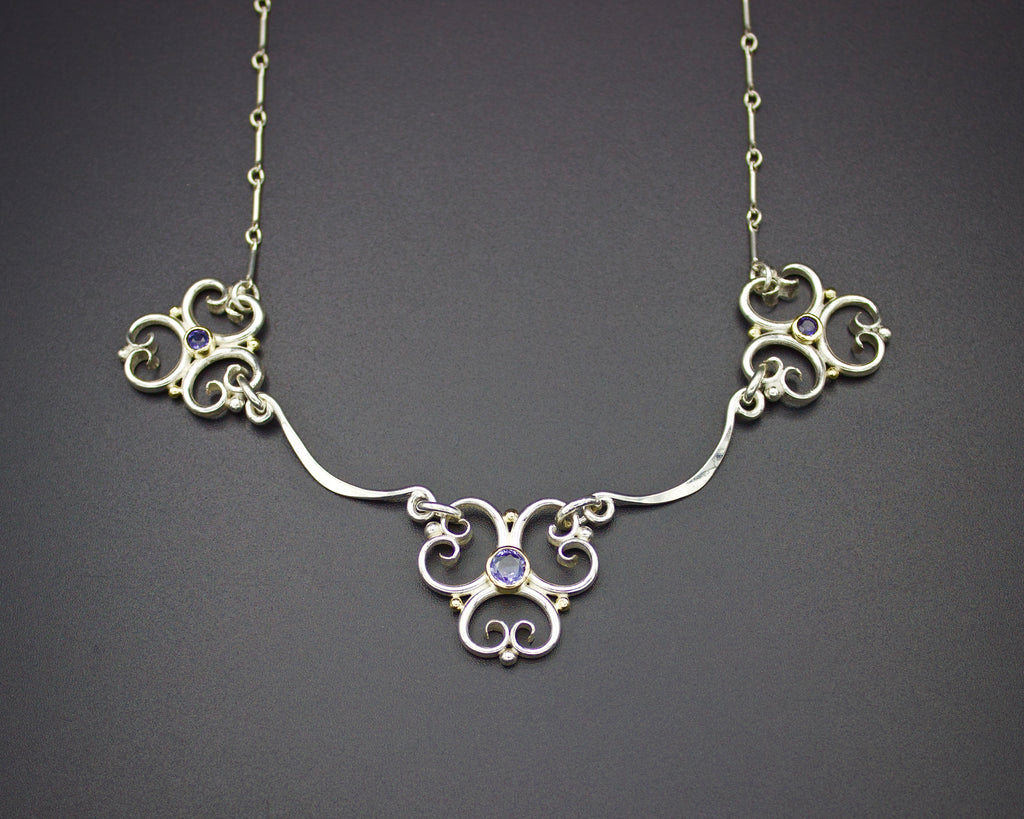Serenity Tanzanite Trefoil Link Necklace