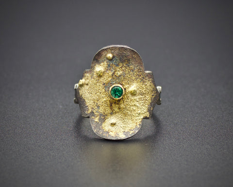 Gothic Emerald Tablet Ring: size 7