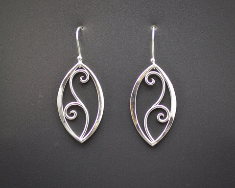 Forged Filigree Leaf Earrings