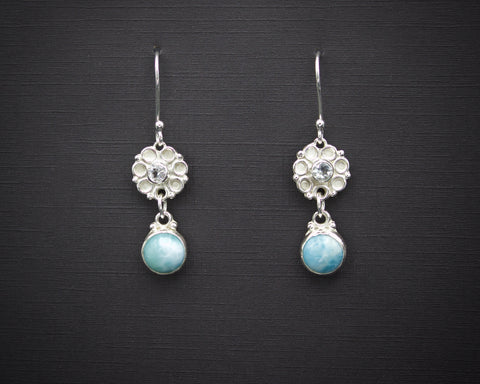 Larimar Rose Drop Earrings